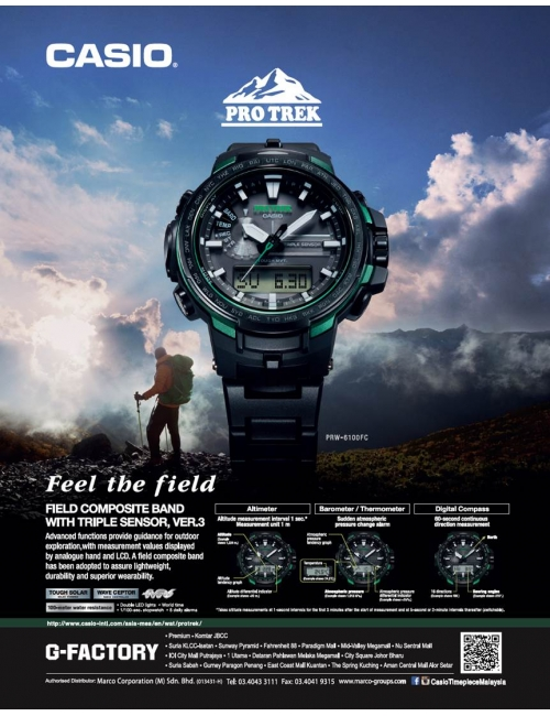 Protrek PRW-6100FC -Explore our new Protrek model - the PRW-6100FC that comes with field composite band and Triple Sensor (ver.3). Feel the Field.