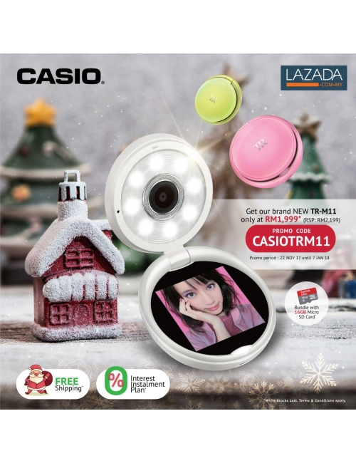Christmas Promotion-Enjoy RM 200 instant rebate when you purchase TR Mini in Casio Official Store and don't forget to insert discount code